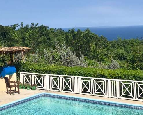 View of the caribbean ocean Green Castle Estate Jamaica