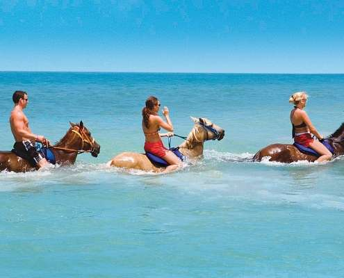 3 guests horse riding in the sea.