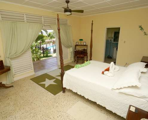 Hummingbird, large double bed bedroom with outside patio