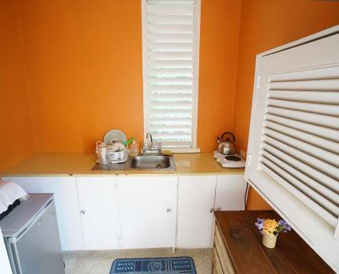 Kitchenette at Vacation apartment for holidays in Jamaica part of Green Castle rustic cottage rooms