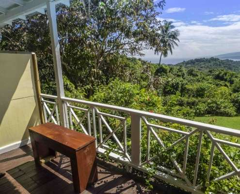 Veranda view from period cottage rooms at Green Castle Jamaica