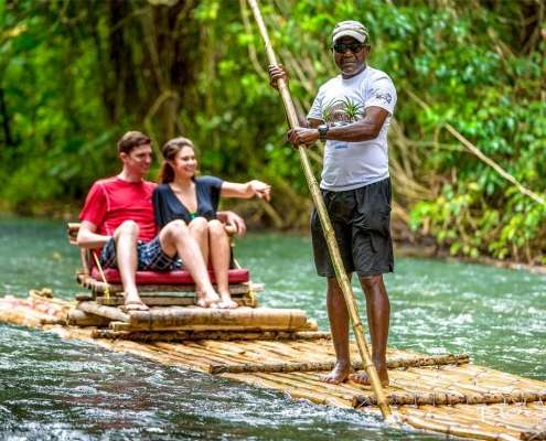 Bamboo rafting in Jamaica along the Martha Brae river in Robins Bay in Jamaica
