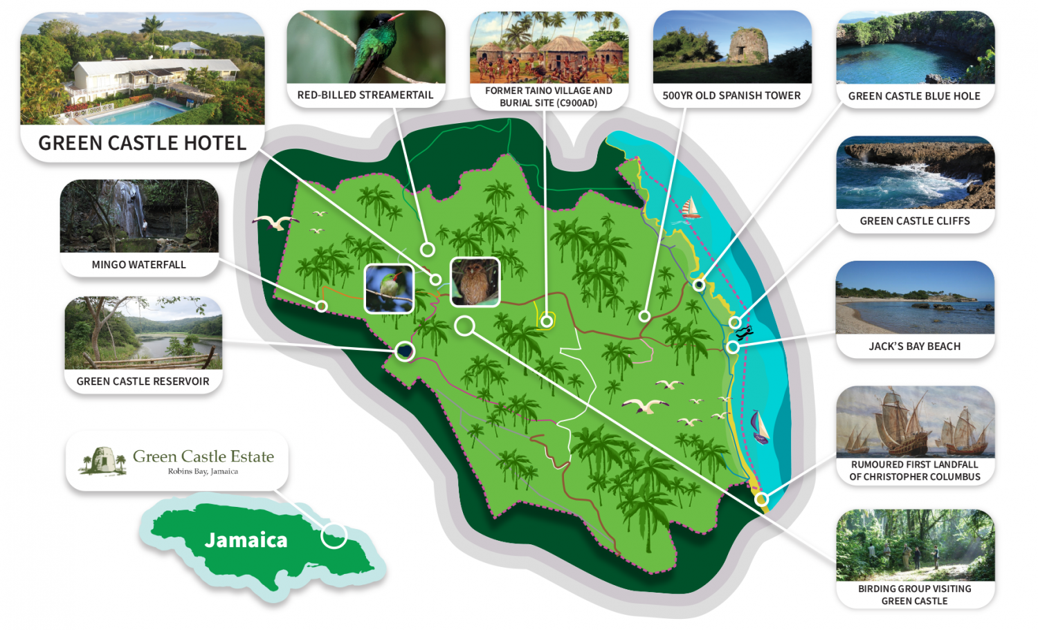 Map of Green Castle Hotel Jamaica Best things to do in Jamaica